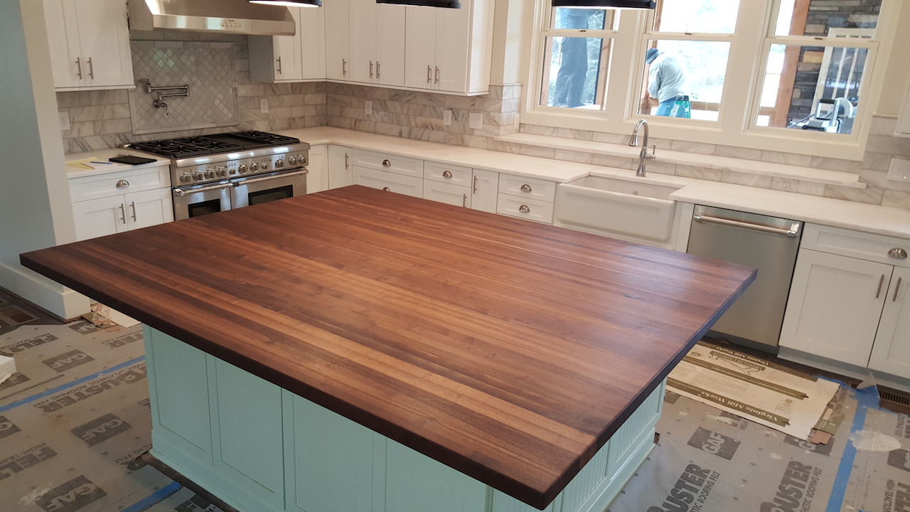 Delightful Walnut Edge Grain Butcher Block Countertop, 3/8u201d Roundover. Butchers Wax  Finish.