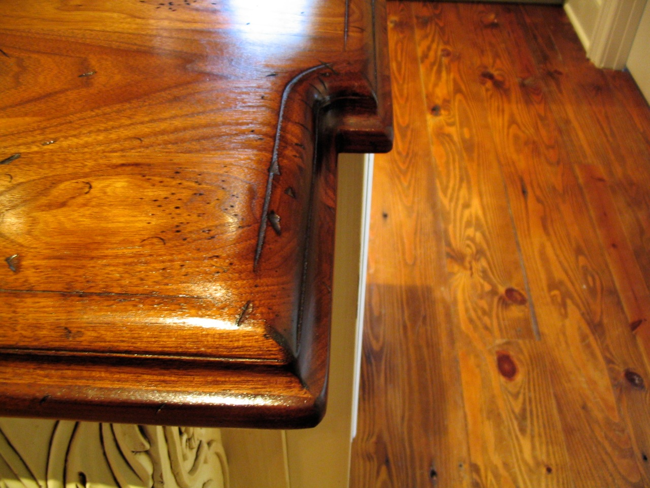 Distressed Walnut Countertop Edge Detail Close Up. Large Double Roman Ogee  Edge. Waterlox Finish. Custom Wood Countertop Installed In Charlotte, NC.