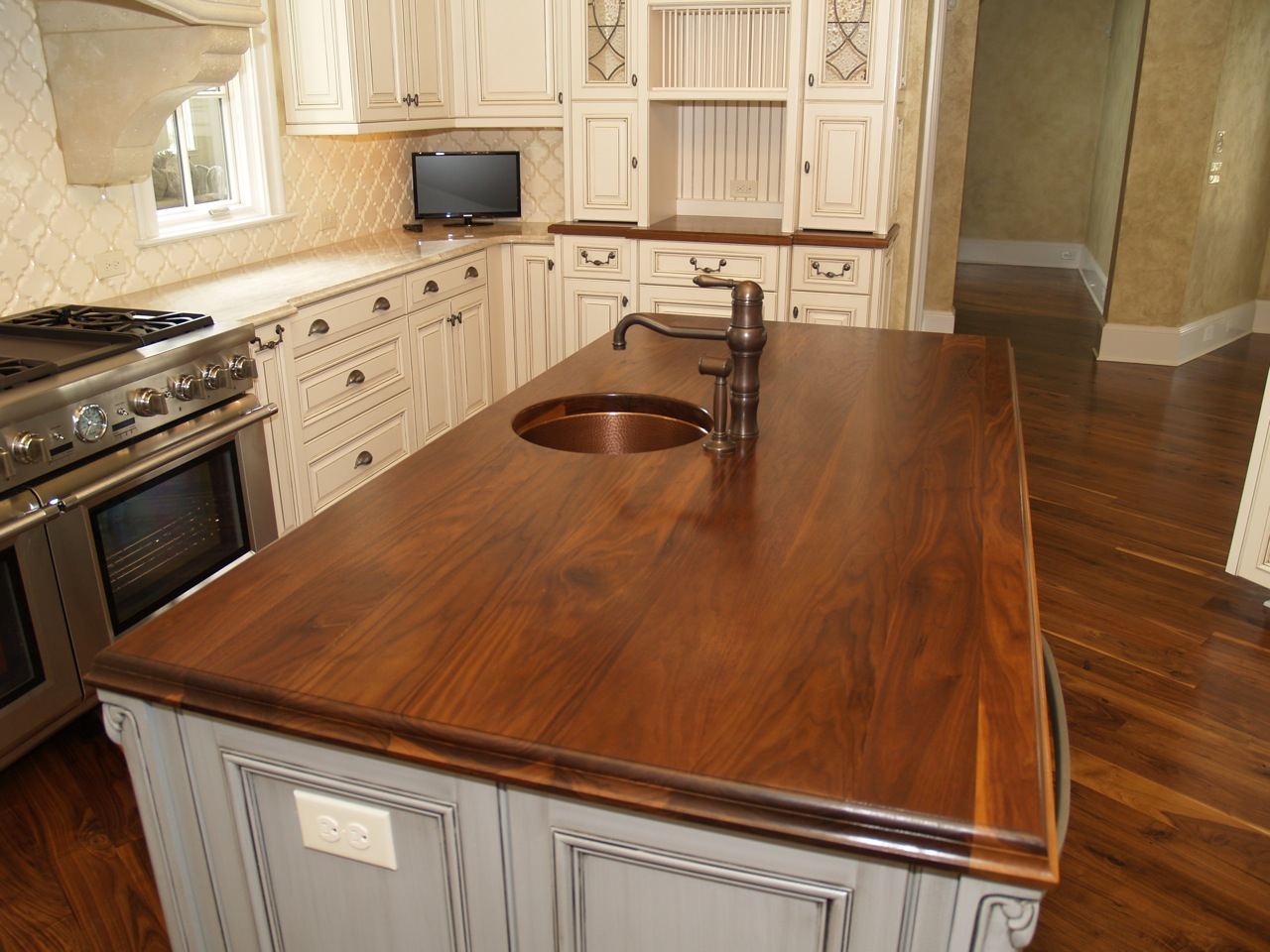 Walnut Kitchen Countertop, Wide Plank Flat Grain Construction, 1.75u201d Thick,  Large Double Roman Ogee Edge, Undermount Sink, With Permanent Finish.