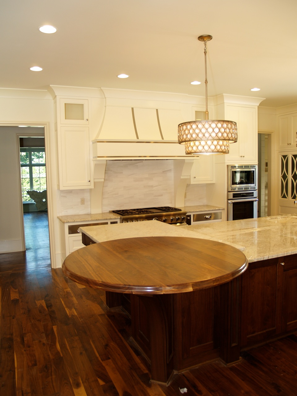 Walnut Wood Countertop, 54u201d Diameter, Large Double Roman Ogee Edge,  Permanent Finish. This Walnut Round Top Was Installed In Charlotte, NC .