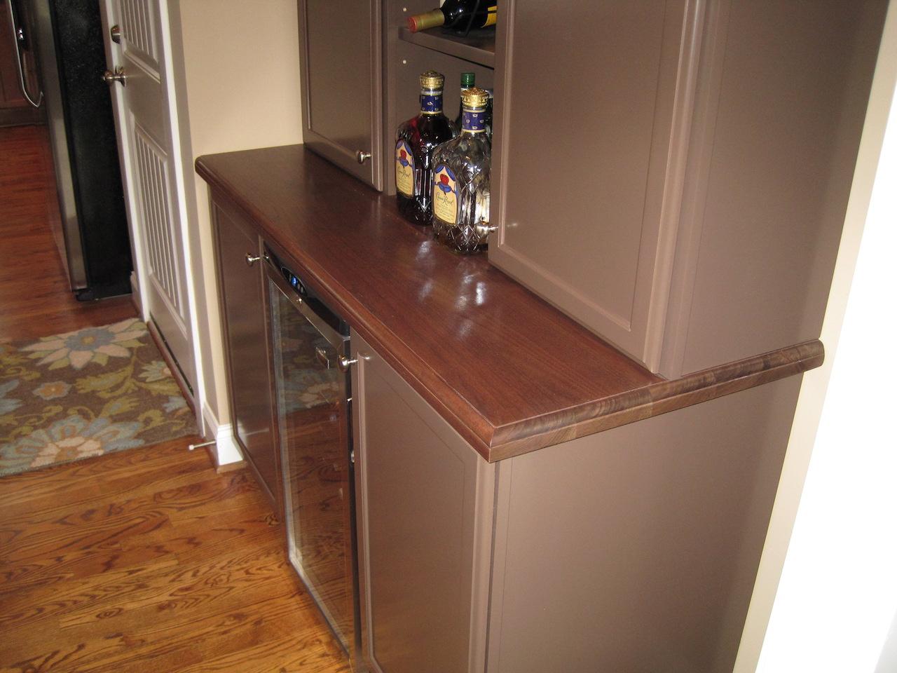 Walnut Wood Bar Top, ½u201d Beaded Edge. Permanent Finish. Huntersville, NC.