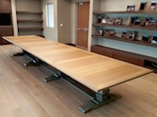 Custom, river-reclaimed, sinker cypress conference table, measuring 5'x 20' long. — at J.M. Smucker Company.